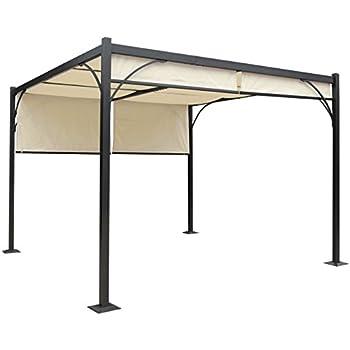mendler pergola hwc c42 garten pavillon stabiles 6cm gestell schiebedach 3x3m creme. Black Bedroom Furniture Sets. Home Design Ideas