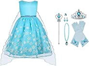 Vicloon - Disfraz de Princesa Elsa - Reino de Hielo - Vestido de Cosplay de Carnaval, Halloween y la Fiesta de