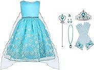 Vicloon Elsa Costume, Set da Principessa Elsa Corona Bacchetta Guanti Treccia, Ragazze Elsa Principessa delle