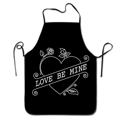 Pattern Apron Burlap Polyester Women Valentines Day Heart -
