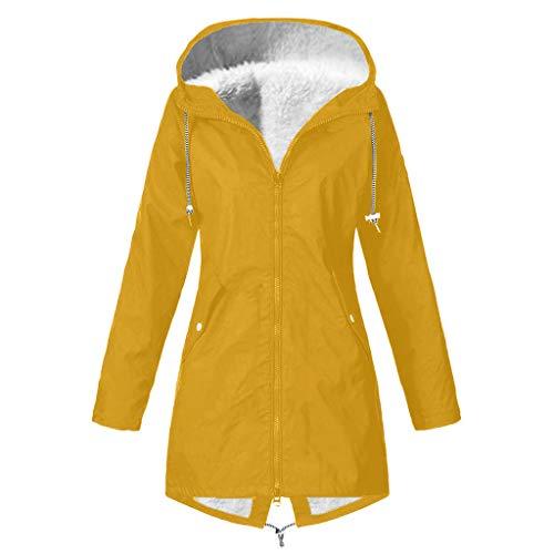 ALISIAM Mujer Abrigo Color sólido Chaqueta de Engrosamiento de Felpa Al Aire Libre Talla Grande Impermeable...