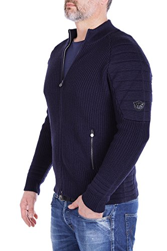 Matchless Herren Strickjacke Manx - Hochwertiger Cardigan, gerippt mit Stepp-Details im Biker-Look - made in Italy - navy - olive - dark grey navy (M5002)