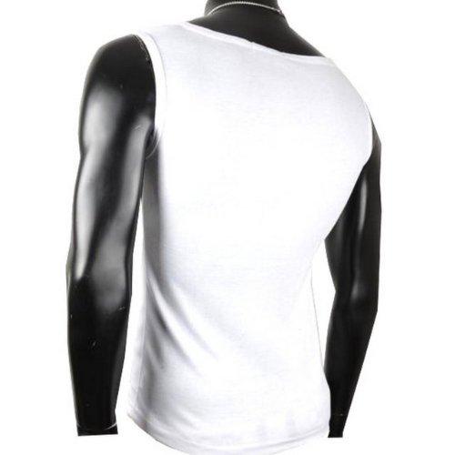 Herren Tanktop Tank top Muskelshirt Fitness T shirt Achselshirt Body Body V Ausschnitt Weiß