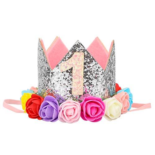 stag Krone, Mädchen Junge ersten Geburtstag Party Hut Foto Requisiten, Prinz Prinzessin Blume Krone Tiara Stirnband (Silber, 1 Jahr alt) ()