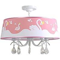 Pendelleuchte Deckenleuchte E27 Kind Kronleuchter Design Lampenschirm Aus  Stoff Dekoration Rosa Schwan Für Baby Junge Mädchen