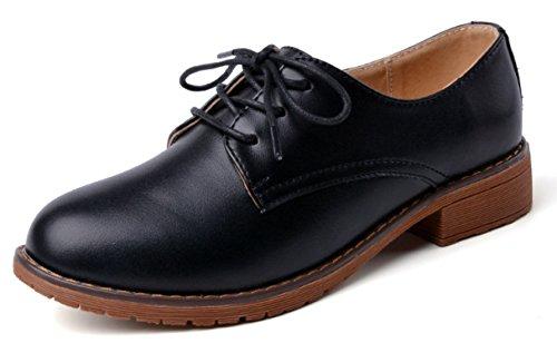 DADAWEN Femme Mode Low-Top Cuir chaussure Noir