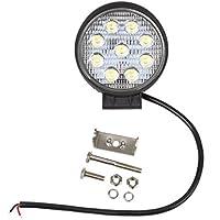 1 Pezzi 27W 2565LM Spot Luce Faro da Lavoro 9 LED Lampada Riflettore Rotondo per Veicolo di Costruzione Trattori Camion SUV Jeep Moto Barca Cortile e Giardino Impermeabile IP67