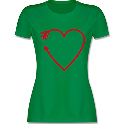 Shirtracer Romantisch - Herz Pfeil - Damen T-Shirt Rundhals Grün