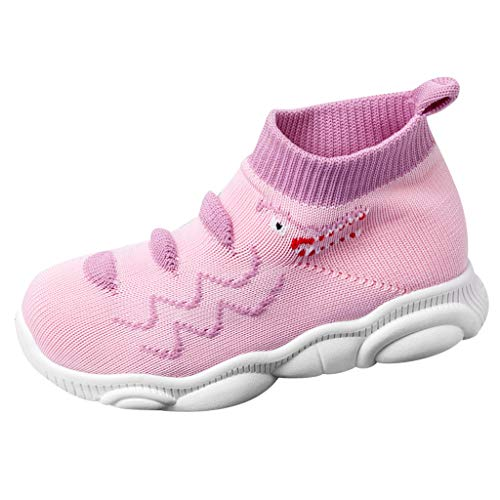 Deloito Kleinkind Turnschuhe Kinder Baby Elastische Socken Schuhe Mädchen Jungen Freizeit Sneaker Masche Stricken Weiche Sohle Sportschuhe (Rosa,25 EU) (Rosa Löffel Kostüm)