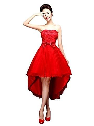 Honeystore Damen's A-Linie/Princess-Linie Herzausschnitt Asymmetrisch Trägerlos Abendkleid mit Schleife Rot (Kostüm Farbige Kontakte Günstige)