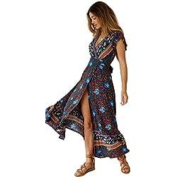 Mujeres Sexy Cuello En V Vestidos Bohemio Wrap Floral Impreso Vintage Estilo étnico de Alta Split Beach Maxi Vestido Marin XL