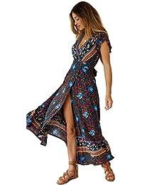 85b13ff9688c4 Femmes Sexy Cou V Robes Bohème Wrap Floral Imprimé Style Ethnique Vintage  Haute Maxi ...