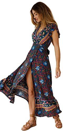 Femmes Sexy Cou V Robes Bohème Wrap Floral Imprimé Style Ethnique Vintage Haute Split Plage Maxi Dress Marin M