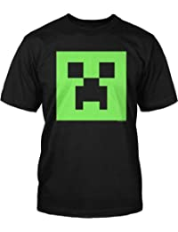 Minecraft Creeper Glow in the Dark Face Adult Black T-Shirt