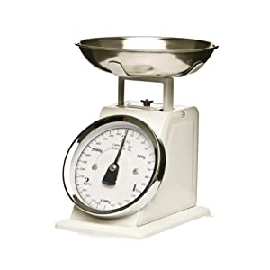 Premier Housewares Retro Style Kitchen Scale with Stainless Steel Bowl, 3 kg - White