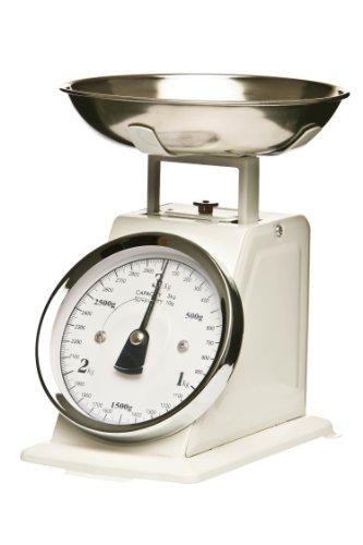 Premier Housewares Küchenwaage im Retrolook mit Edelstahlschale, weiß