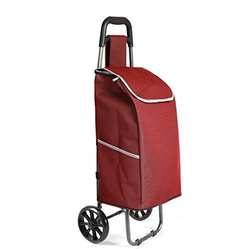 Leichter Faltbarer Einkaufswagen | Warenkorb Trolley Koffer Gepäck 2 Verschleißfeste PU-Rad Ergonomischer Griff Zusammenklappbare Pull Carts Oxford Tuch Einkaufstasche Warenkorb Große Kapazität 30L