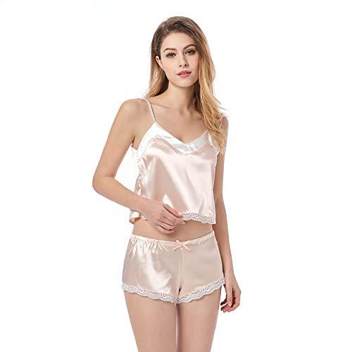 OLLOLCCY Frauen Satin Cami Set Pyjamas Set Champagne zurück Taste Verstellbarer Gurt Sexy Dessous Nachtwäsche S-XL,S