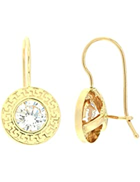 ERCE Design-Ohrringe rund mit Zirkonia, 14 Karat Gold 585, Größe 17 x 9 mm, im Geschenketui