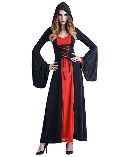 Kostüme Halloween Günstige (Kleid Mit Kapuze Damen Kostüm Halloween Fasching Karneval Hexe Vampir Lady Mittelalter ZauberinRot)