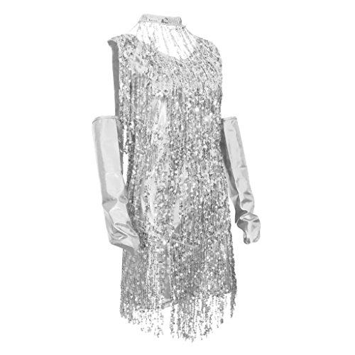 Sharplace 3 In 1 Damen Pailletten Tiefer V 1920er Stil Flappers Kleider Troddel Great Gatsby Motto Party Kleider Retro Kostüm Tanzkleid Tangokleid - Silber, M