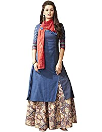Payal Womens Navy Blue Cotton Straight Cut Kurta With Skirt/Leggings And Stole