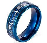 Ueice Wunderschönen Elektrokardiogramm Kohlenstoff Ballaststoff Herzschlag Rostfreier Stahl Ringe Für Männer,Blau,Größe 62 (19.7)