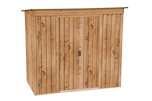 Duramax Pent Roof 6' x 4' Metal Outdoor Garden Shed, Made of Hot-Dipped Galvanized Steel, Strong Roof Structure, Maintenance-Free, Weatherproof & Lockable Metal Garden Storage Shed, Woodgrain