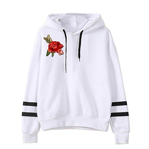 Xinan Damen Hoodie Langarm Sweatshirt Pullover Bluse (S, ❤️weiß)