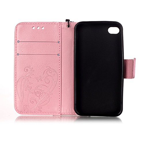 Coque pour iPhone 4S, Housse pour iPhone 4S, iPhone 4/4S Etui en PU Cuir Portefeuille Coque Bookstyle Étui Folio Housse, Ukayfe Etui de Protection PU Cuir Portefeuille Housse Swag Leather Cartoon Case Diamant Papillon-Rose