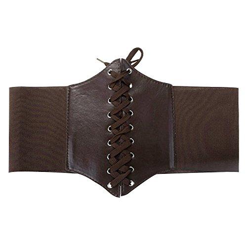 Contever® Unterbrust PU Leder Taillen Corsage - Taillengürtel - Cinch-Gürtel (Braun) (Cinch-gürtel Schnalle)