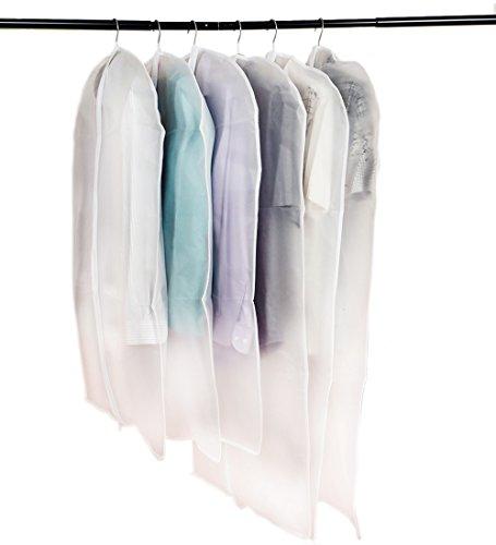 ISIYINER 6 Stück PEVA Umweltfreundlich Transparent Anzug Kleid Kleidersack Staubfrei, lange Reißverschluss Taschen Schutzfolie, Transparent Milky, 3 x M(100 x 60 cm), 3 x L (120 x 60 cm)