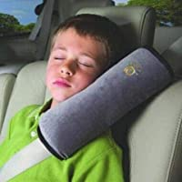 BUCKLE UP Car Pillow with Safety Belt Protect, Shoulder Pad - Grey