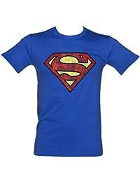 Distressed Superman Logo Herren T Shirt Blau