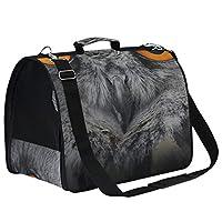 LKZNT Pet Carrier Dog Cage Grey Owl Beautiful Orange Eyes Portable Travel Cat Puppy Rabbit Bag Net Breathable Handbag with Non-slip Pad