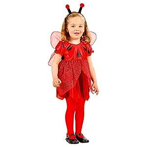 WIDMANN 49329 - Disfraz de mariquita para niños, multicolor, 104 cm / 2 - 3 años