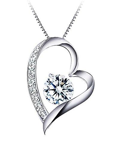 Sterling Silver Cubic Zirconia Elegant Heart Pendant Necklace, Italian Box Chain- s1p020N1