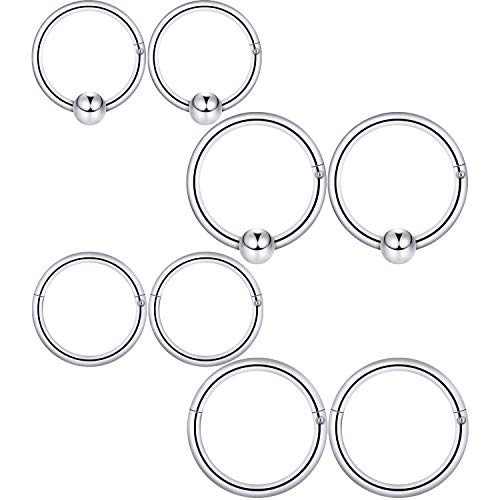 4 Paare 16 g Edelstahl Nasenring Klappbar Nahtlose Clicker Ring Hoop Septum Piercing Damen Schmuckzubehör (Stil A)