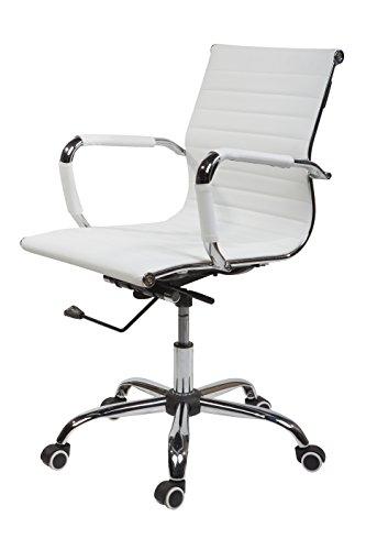 SVITA Design Bürostuhl Chrom Rahmen Elegance Chefsessel Drehstuhl Konferenz-Stuhl (Weiß, Niedrige Lehne) - Niedrige Rückenlehne Chrom