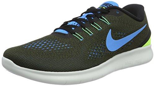 Nike Herren Free RN Laufschuhe, Grün (Cargo Khaki/Blue Glow/Black/Volt), 42.5 EU (Nike Cargo Herren)