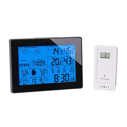 Globaltronics Funkwetterstation/Misst Innen- und Außentemperatur, Luftfeuchtigkeit und Luftdruck (Schwarz)