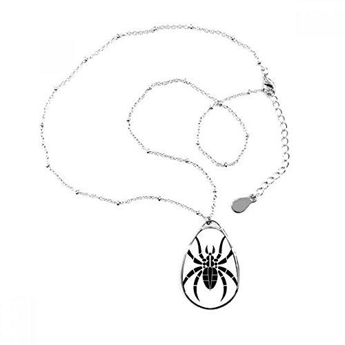 ster Insekten schwarz Illustration Teardrop Anhänger Halskette Schmuck mit Kette Dekoration Geschenk (Spider Dekorationen)