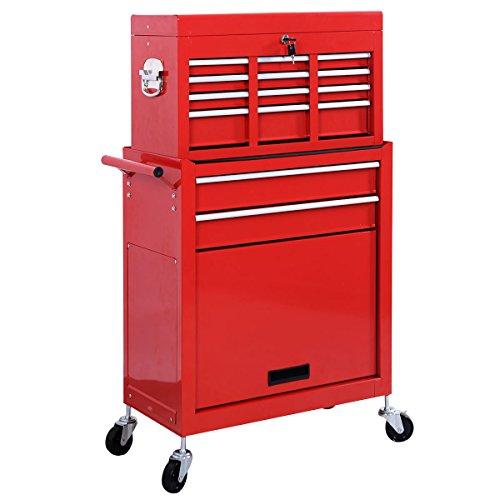 Werkstattwagen Werkzeugwagen Werkzeugschrank Rollwagen mit Werkzeugkiste/ Schubladen rot
