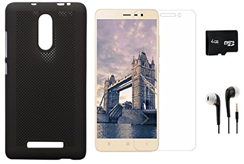 KTC Plus KTC_Plus Heat Dissipation Hollow Thin Soft TPU Black Back Case Cover With Tempered Glass, 4GB Micro Memory Card And Handfree For Xiaomi Redmi Note 3
