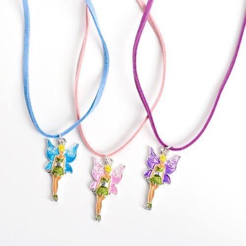 12 Girls Necklaces with Fairy Pink Purple and Blue Tinkerbell Wholesale Party Favor Costume Jewelry by Rhode Island Novelty