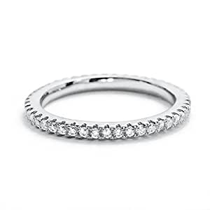Prjewel Cubic Zirconia 925 Sterling Silver Eternity Band Ring Size K