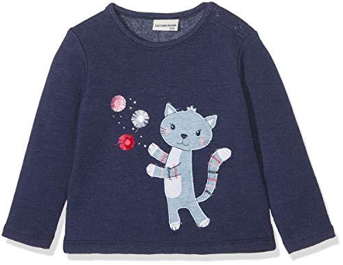 SALT AND PEPPER Baby-Mädchen Sweatshirt B Sweat Mon Amie Katze Blau (Crown Blue Melange 486) 80