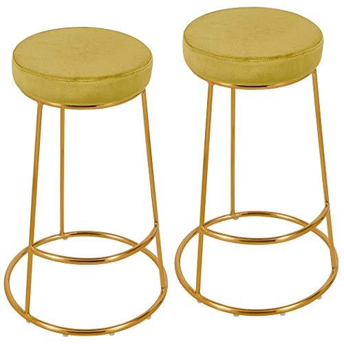 Duhome 2er Set Barhocker rund Barstuhl Gold Gelb Stoff Samt Gestell aus Metall Tresenhocker gut gepolstert Sitzhöhe 67 cm Farbauswahl 5160H-9