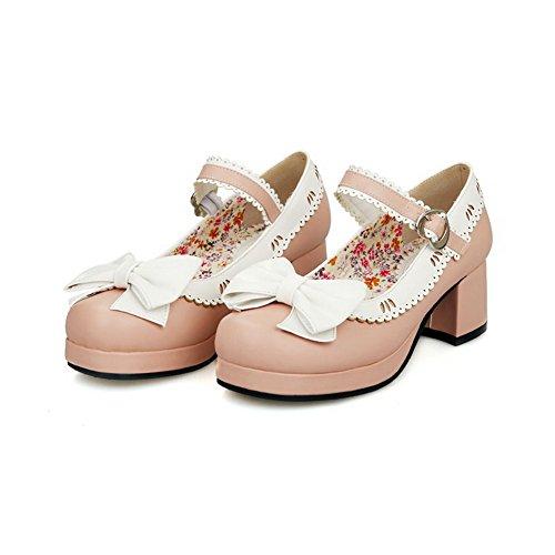 AllhqFashion Damen Rund Zehe Schnalle Gemischte Farbe Mittler Absatz Pumps Schuhe Pink
