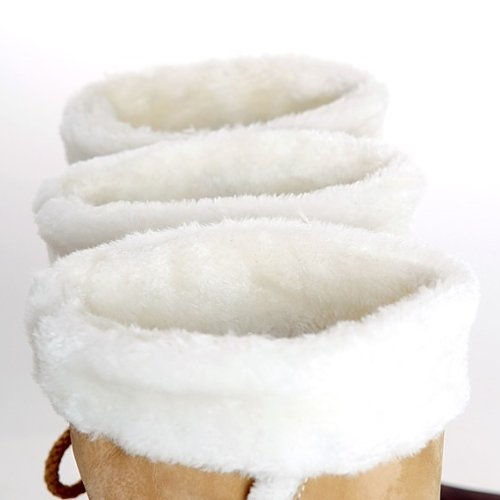 Minetom Donna Neve Stivali Punta Rotonda Pelliccia Autunno Inverno Snow Boots Female Moda Flats Shoes Marrone
